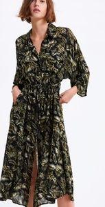 NWT Zara Leaf Print Sarah Long Dress 2019 Sz. L